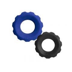 Hunkyjunk Cock Ring 2 Size Pack - Cobalt Blue and Black Tar