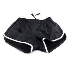 Leather Sports Shorts - Black White