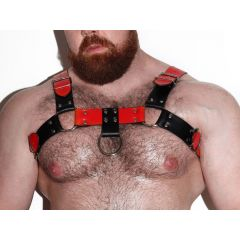 DARKROOM PU Leather Deluxe Harness - Black/Red-Front