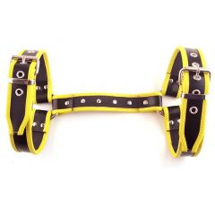 Leather Halter Harness - Black/Yellow