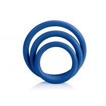 CalExotics Tri-Rings 3 Piece Cock Ring Set - Blue