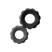 Hunkyjunk Cock Ring 2 Size Pack - Black Tar and Stone