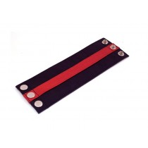 Leather Wrist Band Wallet Black Red - Large