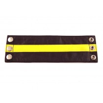 Leather Wrist Band Wallet Black Yellow - Large
