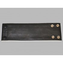 Leather Wrist Band Wallet With Piping - Black White - Small