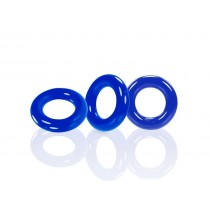OXBALLS Willy Rings 3 Pack Cock Ring Set - Police Blue