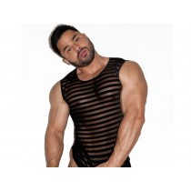 DARKROOM Striped Mesh Tank Top - Black