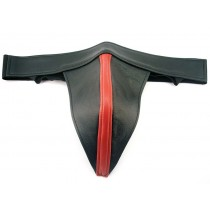 Leather Jock with Coloured Strip - Red