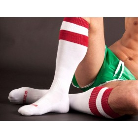 Barcode Football Socks - White Red - S/M