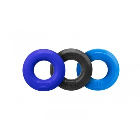 Hunkyjunk Cock Ring 3 Pack - Black Tar and Cobalt Blue and Aqua