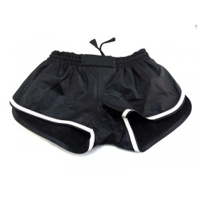 Leather Sports Shorts - Black White