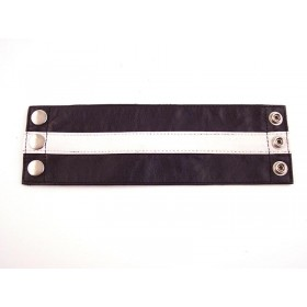 Leather Wrist Band Wallet Black White - Small