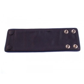 Leather Wrist Band Wallet With Piping - Black Blue - Small