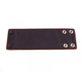 Leather Wrist Band Wallet With Piping - Black Red - Large