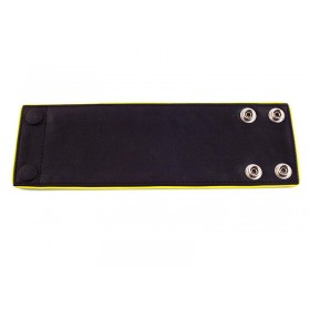 Leather Wrist Band Wallet With Piping - Black Yellow - Large