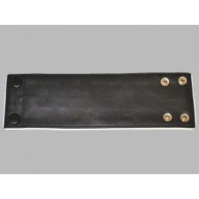Leather Wrist Band Wallet With Piping - Black White - Large