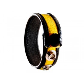 Leather Cock Ring/Strap Black & Yellow